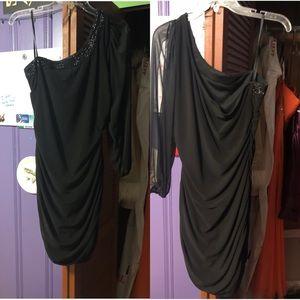 Black, one-sleeve, homecoming dress